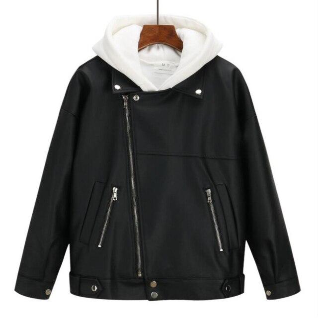 2019 New Arrival Women Autumn Winter Leather Jacket Oversized Boyfriend Korean Style Female Faux Coat Outwear Black 3