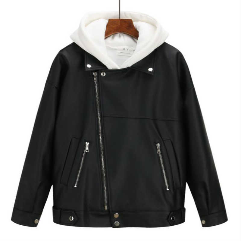 2019 新到着の女性の秋冬レザージャケット特大のボーイフレンド韓国スタイル女性ののどのコート生き抜く黒
