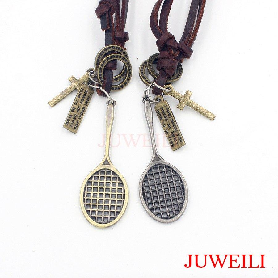 JUWEILI Jewelry 1x Badminton Racquet Copper Metal Adjustable Leather Necklace Pendant Charm Women Men Amulet