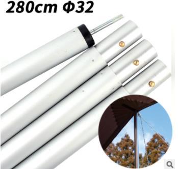Bold Canopy Pôle De Soutien Tente Pôle 32mm Épais En Alliage D'aluminium 4 Section Auvent Accessoires Support Tige 2.8 m