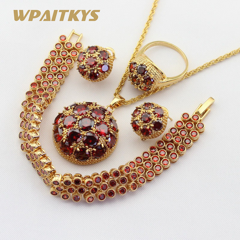 Gold Color Jewelry Sets For Women Red Cubic Zirconia Bracelet Hoop Earrings Necklace Pendant Rings Free Gift Box colorful cubic zirconia hoop earring fashion jewelry for women multi color stone aaa cz circle hoop earrings for party jewelry