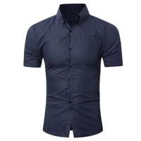 Brand 2017 Fashion Male Hawaiian Shirt Long Sleeves Tops Small Grid Solid Color Mens Dress Shirts