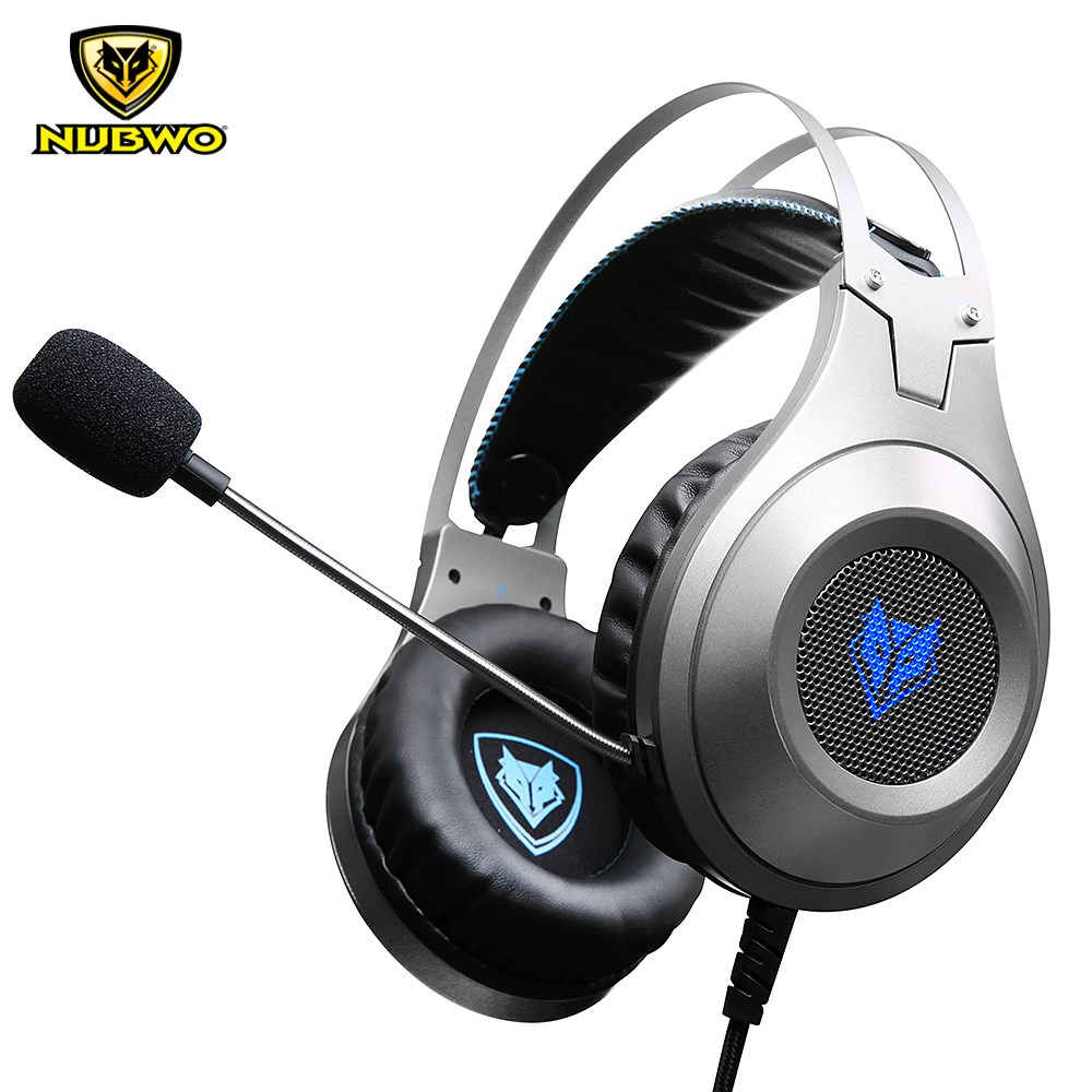 In stock NUBWO N2U Gaming Headphones LED Over-Ear Stereo Deep Bass Noise Canceling Game Headsets With Microphone For PC Gamer plextone pc750 over ear gaming headphones stereo bass headsets with super shocking sound noise canceling mic for pc laptop gamer