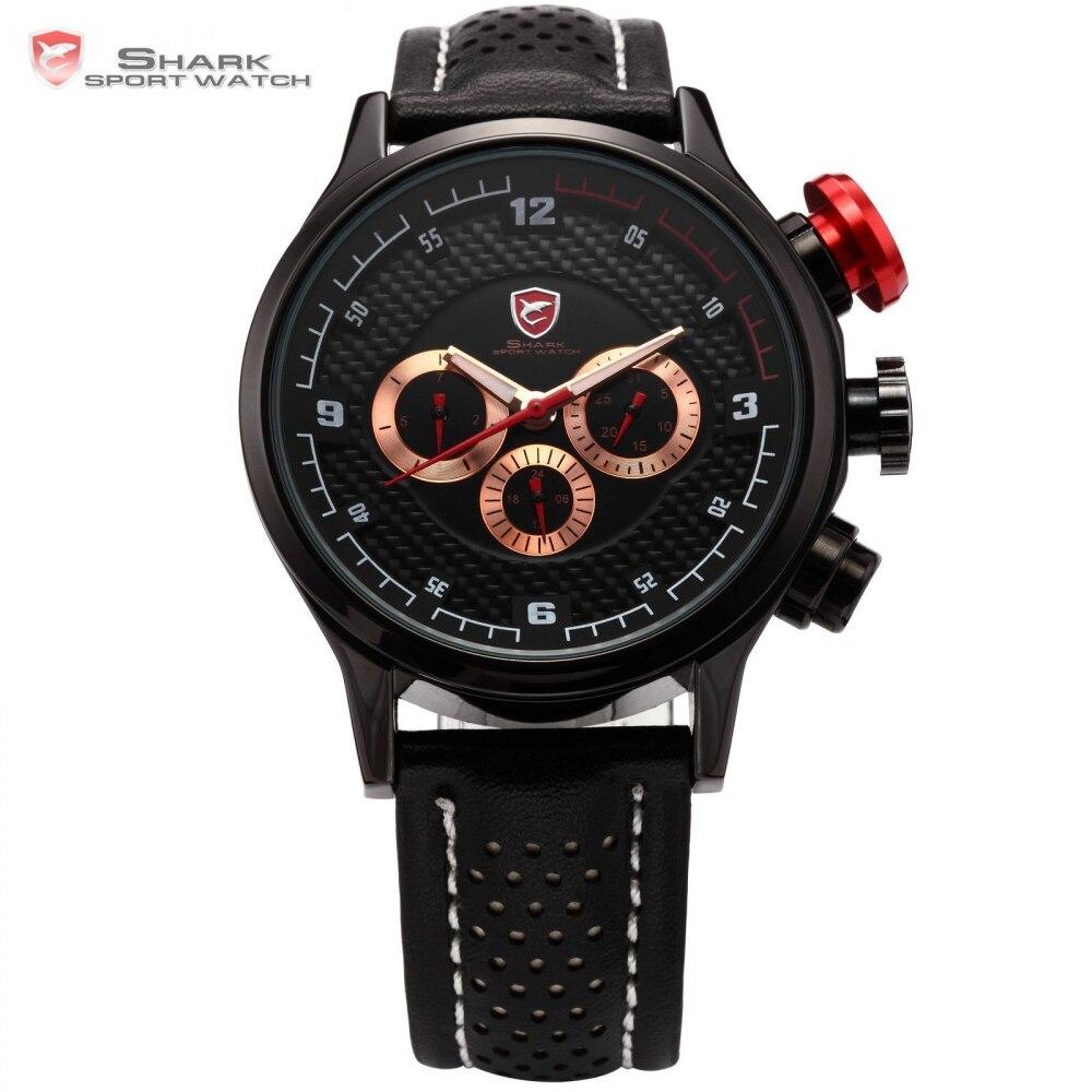 ФОТО SHARK Sport Watch Luxury Brand 6 Hands Date Day Steel Black Golden Quartz Relogio Masculino Male Leather Strap Men Hours / SH087