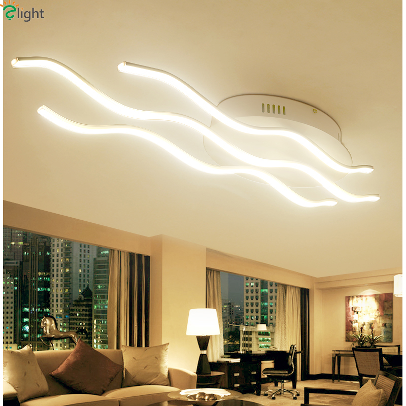 Modern Novelty Wave Aluminum Led Ceiling Lights Lustre Acrylic Dining Room Led Ceiling Lamp Bedroom Led Ceiling Light Fixtures