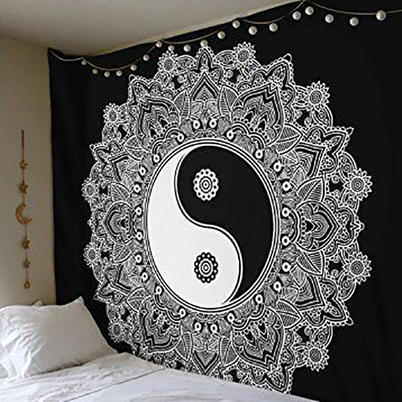 2018 Indian Style Wall Hanging Hippie Mandala Tapestry Dorm Ethnic Bedspread Home Decor Classical Black And White