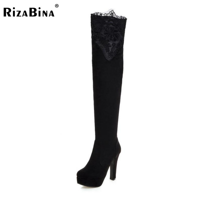 RizaBina Size 33-43 Sexy Winter Shoes Women Thick High Heel Over Knee Boots Women Lace Flower Thick Plaform Winter Warm Botas qiu dong in fashionable boots sexy and comfortable women s shoes the new national style high heel heel thick heel