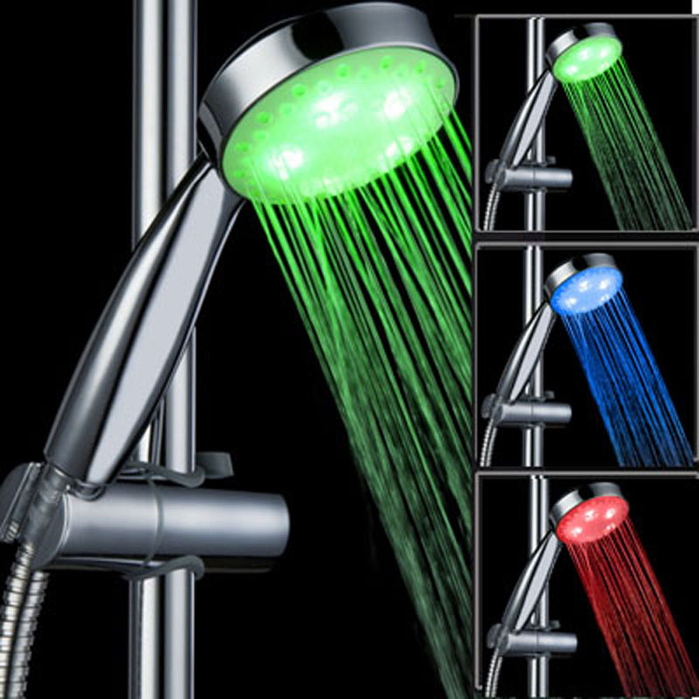Adaptable 3 Color Led Light Change Faucet Shower Water Tap Temperature Sensor Water Faucet Glow Shower Left Screw With Converter Cheapest Price From Our Site Home Improvement