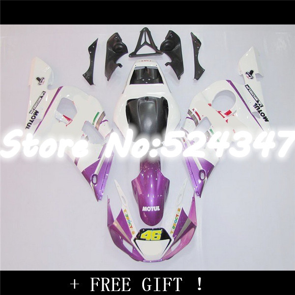 Injection Pre_drilled violet blanc kit de Carénage pour YZF-R6 98-02 YZF R6 98 99 00 01 02 YZF 600 R6 1998-2002 carénage