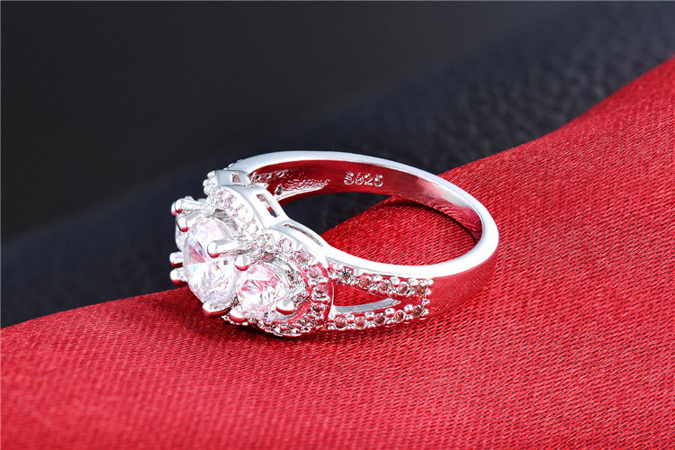 H:HYDE Hot Wedding Rings For Women Silver Color Jewelry Engagement Vintage Ring bague zirconia fashion Accessories Size 7 8 9