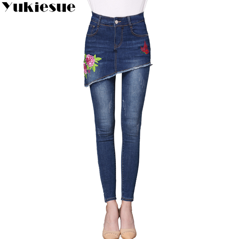 Embroidery Jeans Female 2017 High Wasit Vintage Denim Jeans Woman Skinny Long Pencil Pants Skirts Jeans Women Plus Size