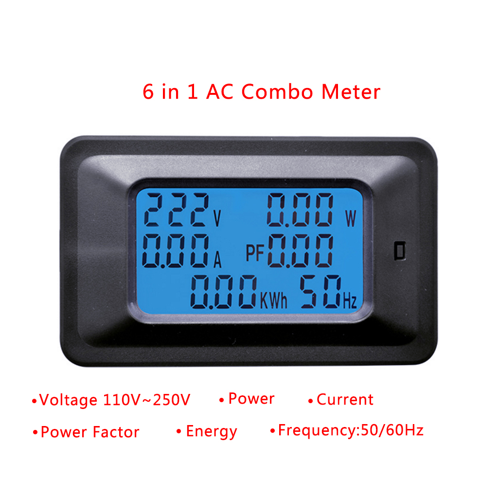 20/100A AC LCD Digital Panel Power Watt Meter Monitor Voltage KWh Voltmeter Ammeter