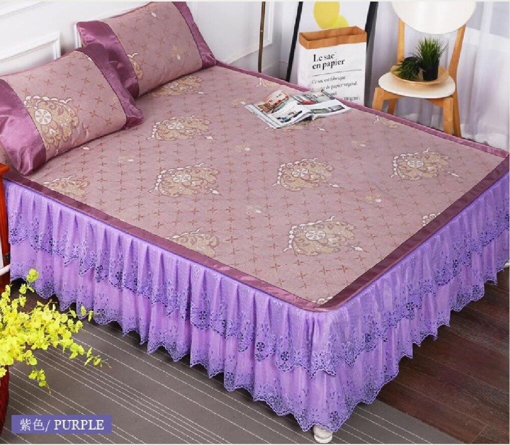 2018 New Style Cool bed mat Summer Sleeping Mat Summer bed protection mat linen mat with Lace edge Soft Mattress Topper