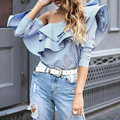 One Shoulder Off Ruffles Blouse Shirt Women Tops 2017 Summer Casual Blue Striped Shirt Long Sleeve Cool Tunika Blusas Mujer Ropa