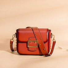 Vintage Real Leather Wide shoulder strap Handbag premium quality fashion genuine leather Shoulder Bags of Famous Brand