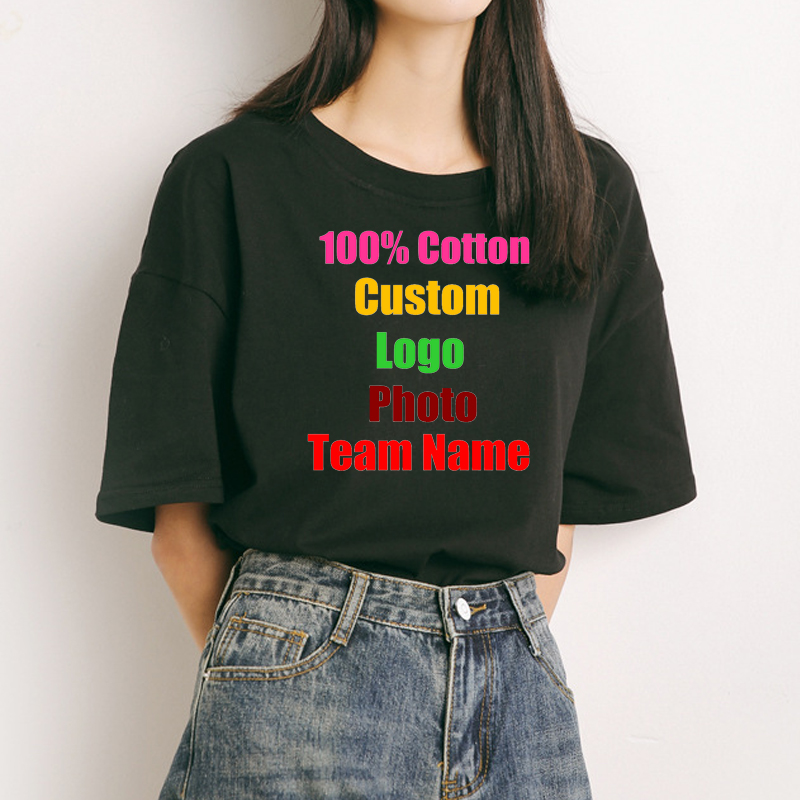 diverse styles retail prices buy cheap US $14.25 34% OFF|Korean Preppy Girl Oversized Cotton Women T shirt Custom  Logo Photo Text Printed Tees Loose Customized lady Summer Solid T shirt-in  ...