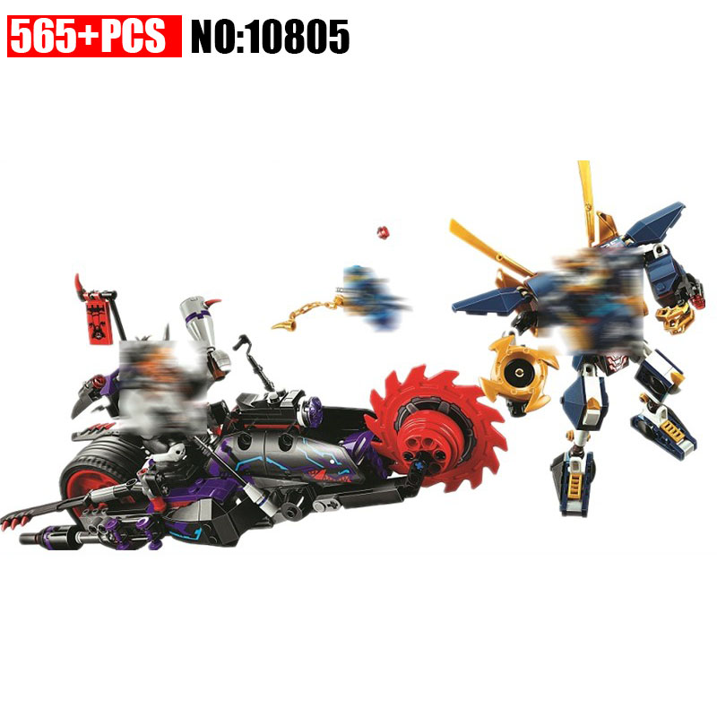 New 10805 565pcs Ninja Killow Vs. Samurai X Model Building Blocks kids DIY Bricks Toys Gift Compatible with Legoinglys 70642 lepin 663pcs ninja killow vs samurai x mech oni chopper robots 06077 building blocks assemble toys bricks compatible with 70642
