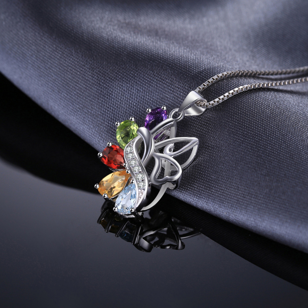 JewelryPalace Butterfly 2.4ct Genuine Amethyst Garnet Peridot Citrine Blue Topaz 925 Sterling silver Pendant Necklace 18 Inches UGXjSEdL