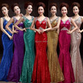 7 Colors Luxury Sequined Sleeveless mermaid prom dress vestido de festa longo Elegant V-neck Crystal Long prom dresses 2016 FD19