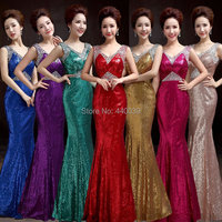 Luxury Sequined Sleeveless Mermaid Prom Dress Vestido De Festa Longo Elegant V Neck Crystal Long Prom