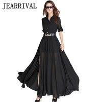 2017 nieuwe lente zomer dress vrouwen korte mouw zwart wit lange maxi dress side split chiffon jurken met riem vestidos