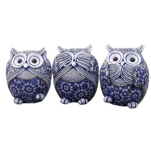 Coruja estatuetas decoração mini animais ornamentos para casa acessórios de decoração de escritório artesanato decoração de arte 3pc presentes de casamento