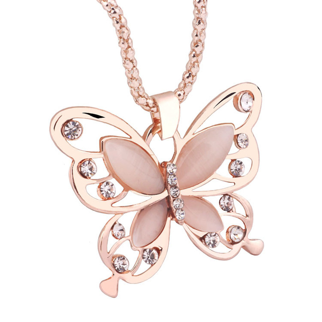 Beauty Women Lady Necklace Choker Pendientes Rose Gold Opal Butterfly Pendant Exquisite Sweater Chain Oorbellen Necklace#X