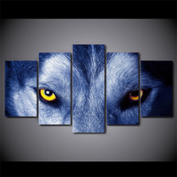 5 Piece HD Printed Yellow Eyes Wolf Framed Wall Picture Art Poster Painting On Canvas For Living Room Quadro Para Sala