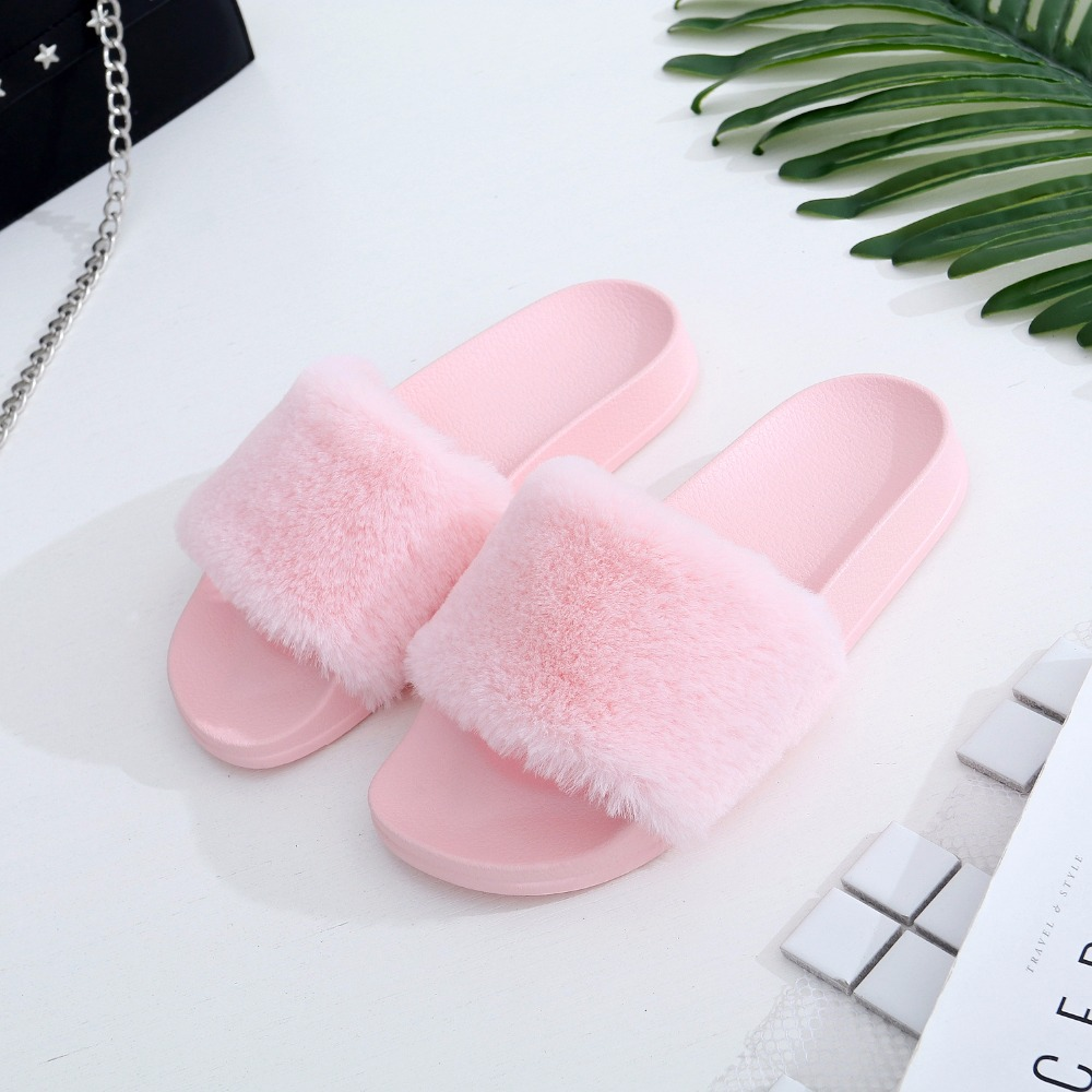 COOLSA New Women s Brand Furry Slippers Faux Fur Slippers Non slip ... c5bfbb84744c