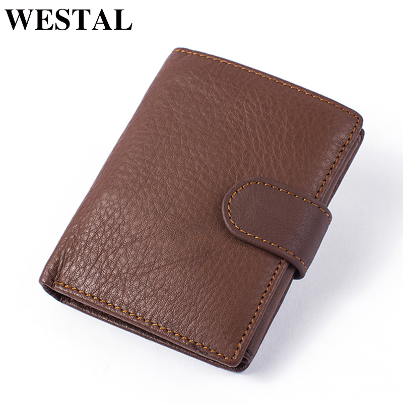 WESTAL Genuine Leather Wallet with Coin Pocket Card Holder Male Purse Men Wallets Hasp Leather Wallet Short Wallets Slim men wallet male cowhide genuine leather purse money clutch card holder coin short crazy horse photo fashion 2017 male wallets