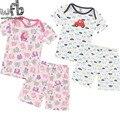 Retail 2 set/pack 0-24months muchachas de los bebés ropa corta camiseta + pantalón conjunto niño verano de los cabritos trajes de Los Niños ocasionales ropa del cabrito