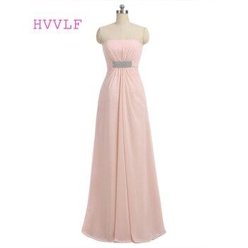 Peach 2019 Cheap Bridesmaid Dresses Under 50 A-line Strapless Floor Length Chiffon Long Wedding Party Dresses