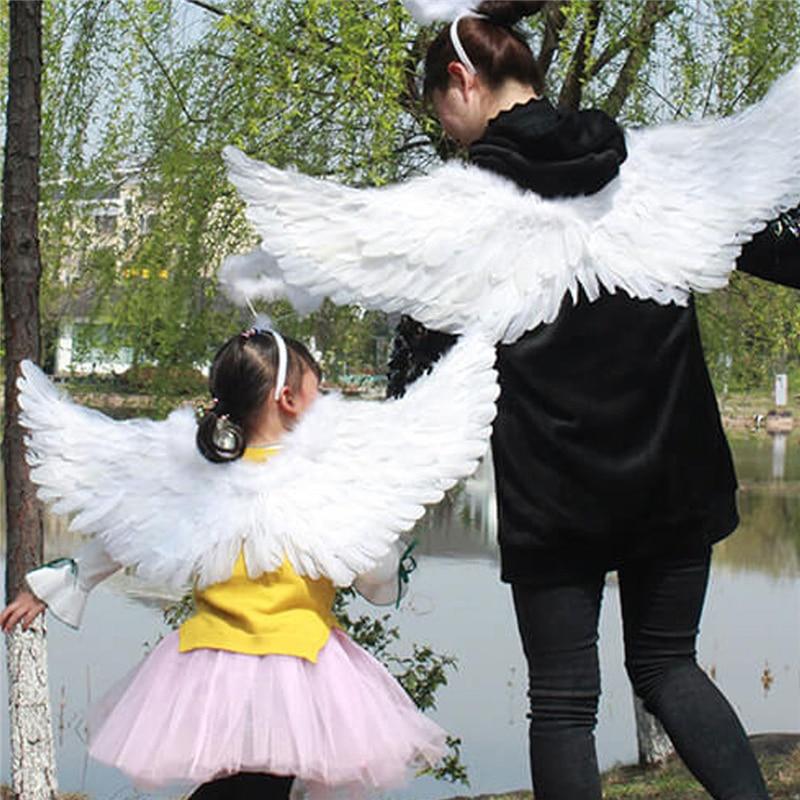 YiZYiF dziecięce białe skrzydła anioła z piór na potańcówka przebranie na karnawał pokaz sceniczny Masquerade karnawałowe przebranie na wakacje
