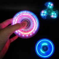 Transparent LED Light Fidget Spinner Windmill Glowing EDC Crystal Fire wheel Hand Finger Spiner Toys For Adults And Kids #E