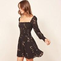 Jastie Ruffle Edged Neck Mini Dress Elastic Smocked Bodice Slim Dresses Long Puff Sleeve Women Dress Summer Boho Chiffon Dresses