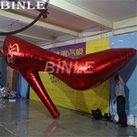 Customized 4m 13ftLong red giant inflatable High heeled shoes for lady's Single Party decoration