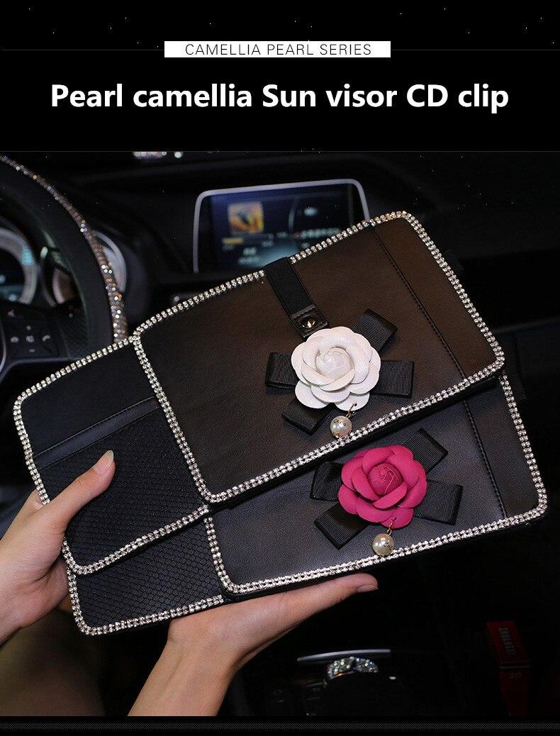 Pearl Camellia Flower Car Sun Visor Storage Bag for CD Cards