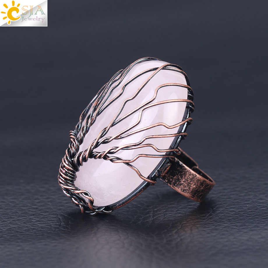 CSJA โบราณแหวน Vintage เครื่องประดับไข่รูปร่างหินธรรมชาติลูกปัด Wire Wrapped Tree of Life ปรับแหวน f391