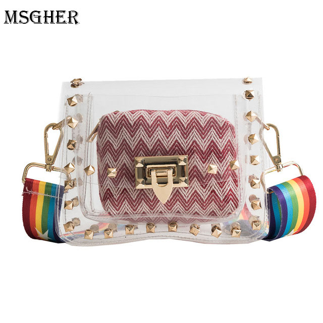 M.S Women PVC Handbag Flap Mini Transparent Small Bags Composite Convenient Bag Rivet For Beach All-match Handbag Shoulder Bags