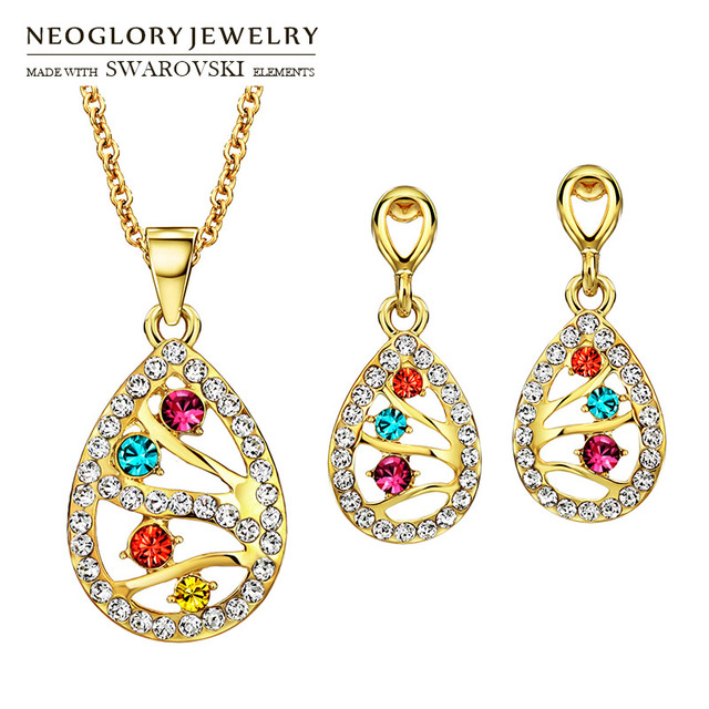 Neoglory Austria Crystal   Rhinestone Jewelry Set Light Yellow Gold Color  Colorful Water Drop Stylish Necklace 409b41eb3106