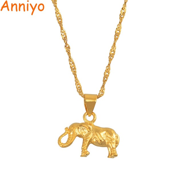 Anniyo SMALL Elephant Pendant and Chain Necklaces for Women Girls,Gold Color Cha