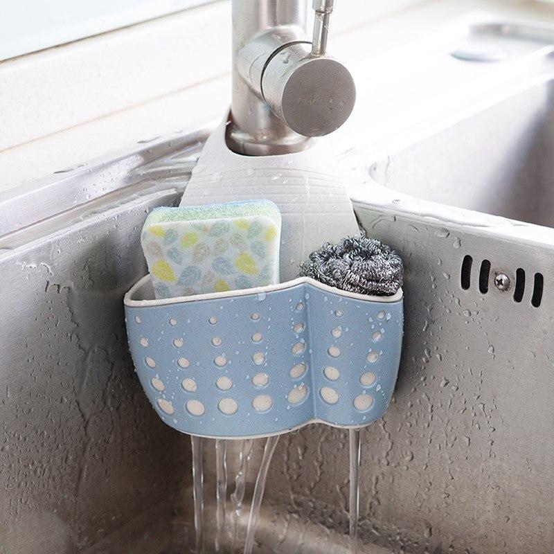 Hanging Sponge Holder Kitchen Sink Caddy Soap Draining Sider Faucet ...