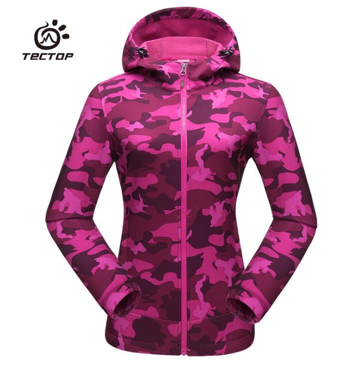 Automne hiver en plein air femmes camouflage doux shell veste coupe-vent imperméable thermique Camping pêche randonnée à capuche manteaux