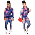2 Piece Set Women 2016 Hot Autumn Winter Fashion Flower Printed Tracksuits Sets Sexy Club Party (Sweatshirt + Pant) Sweatsuit