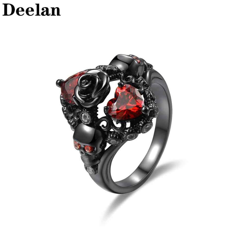 DEELAN  Fashion Rings For Women Austrian Crystal CZ Gothic Skull Flower Rose Girls Silver Plated Luxury Jewelry Punk Gifts Ring