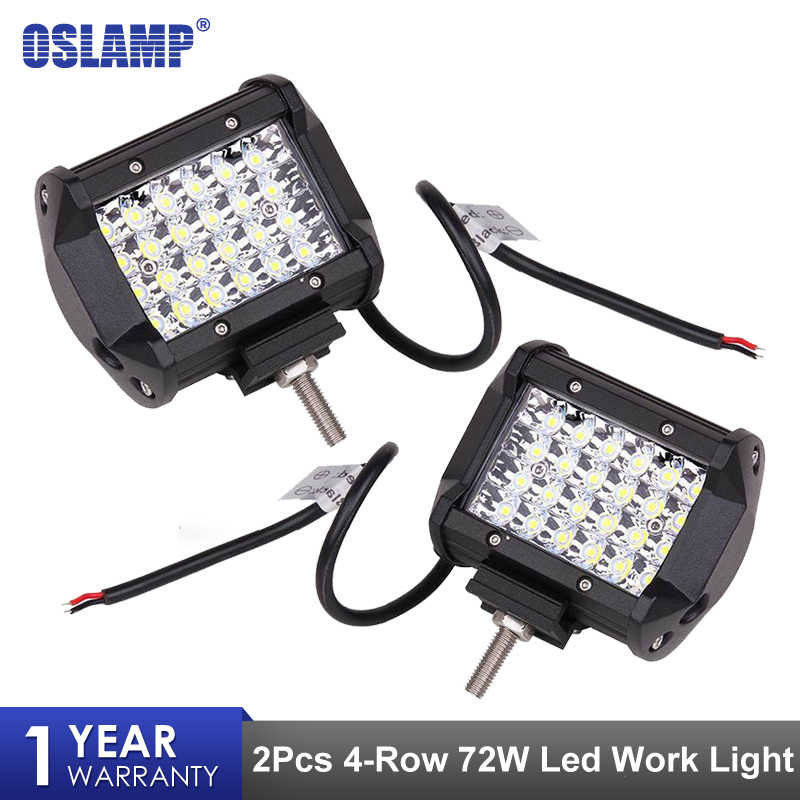 "Oslamp 2Pcs 4"" 72W LED Work Light 4 Row Spot Beam Car Driving Lamp Offroad Light Bar For 4x4 Trucks Off-road Vehicles Led Bar"