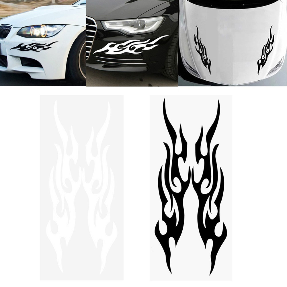 Car sticker design fire - 2pcs Racing Car Vehicle Bumper Door Reflective Flame Fire Sticker Decor China Mainland