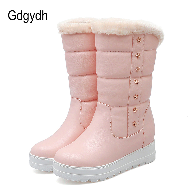 Gdgydh Fashion Rivet Female Winter Boots Height Increasing 2017 New Black Warm Plush Shoes For Russian Snow Boots Plus Size 43 skullies beanies the new russian leather thick warm casual fashion female grass hat 93022