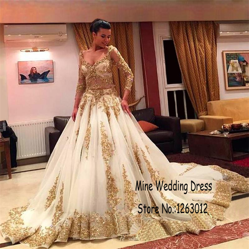 7c1a0b96b03e Long Sleeve Arabic Muslim Ball Gown Wedding Dresses Luxury Gold Lace And  White Applique Sexy Beaded Wedding Gowns-in Wedding Dresses from Weddings &  Events