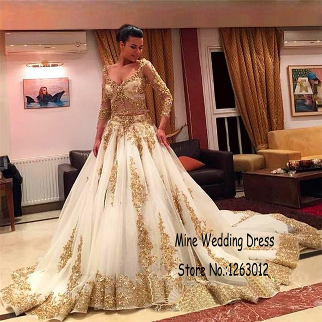 Long Sleeve Arabic Muslim Ball Gown Wedding Dresses Luxury Gold Lace And  White Applique Sexy Beaded 294846c9aec7